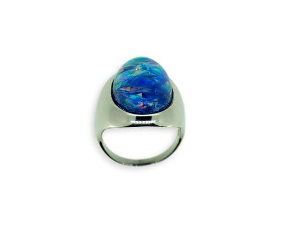 Серебряное кольцо с опалом, синий